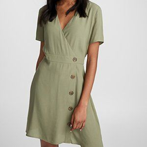Twik Fluid Buttoned Shirtdress in Olive Green